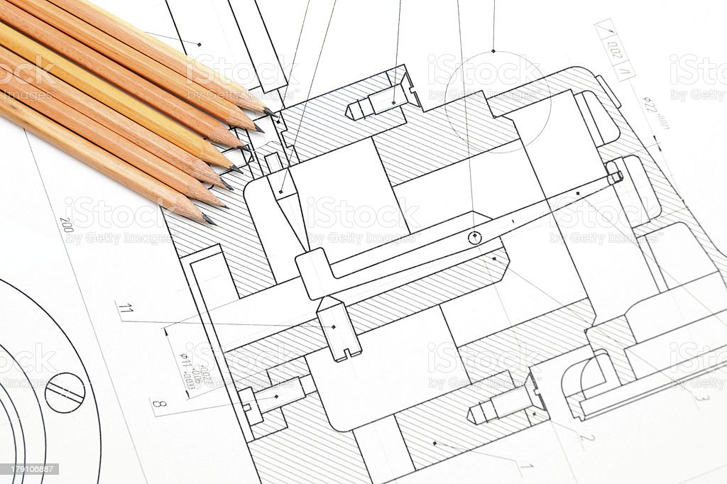 Pencils on drawing. royalty-free stock photo