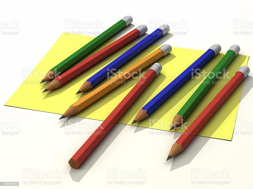 3D pencils on list stock photo