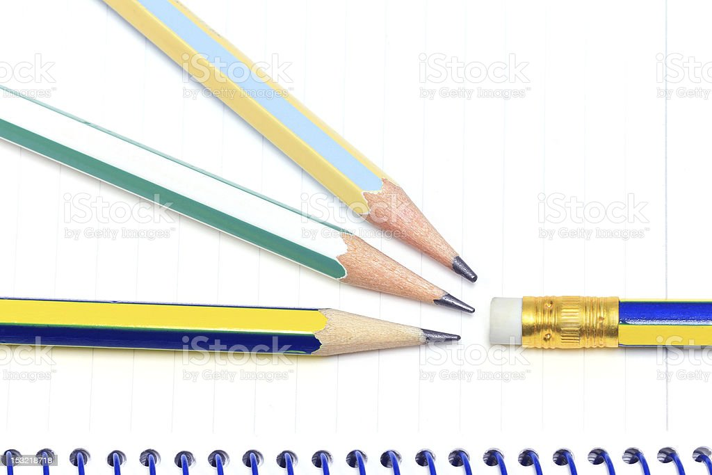 Pencils on notebook royalty-free stock photo