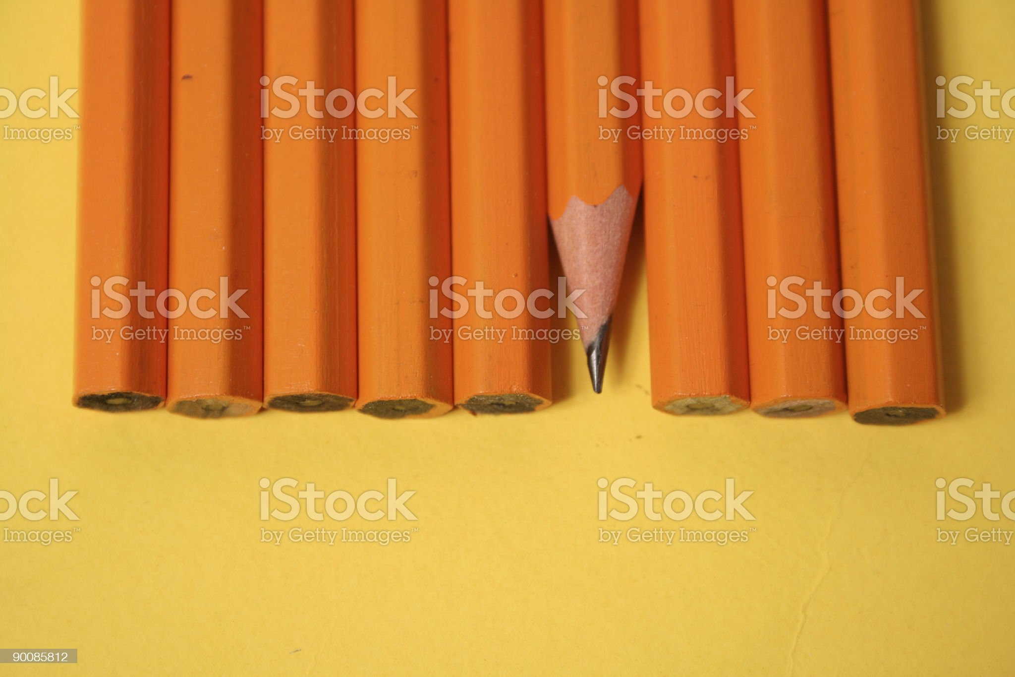pencils on yellow background royalty-free stock photo