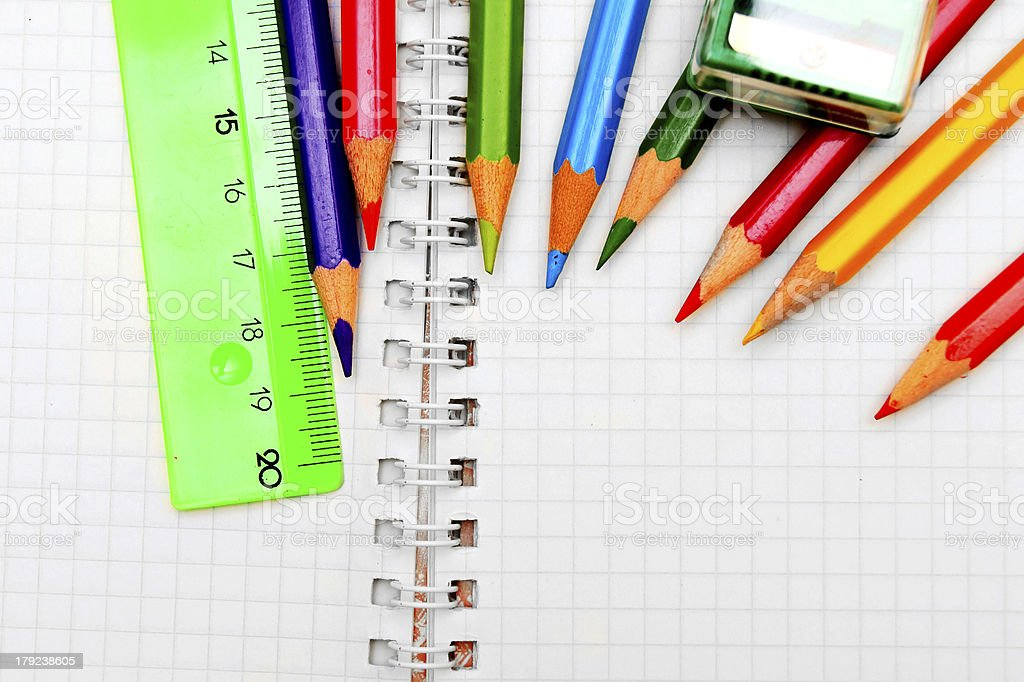 pencils, ruler and eraser stock photo
