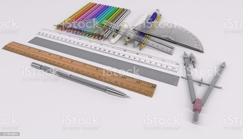 pencils rulers and drawing tools stock photo