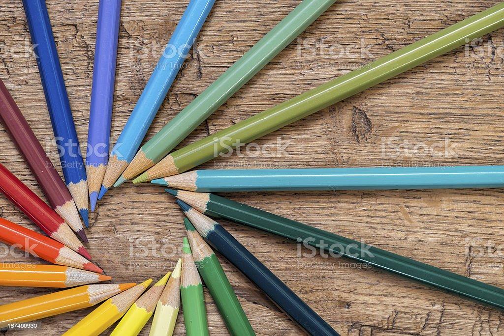 Pencils wheel stock photo