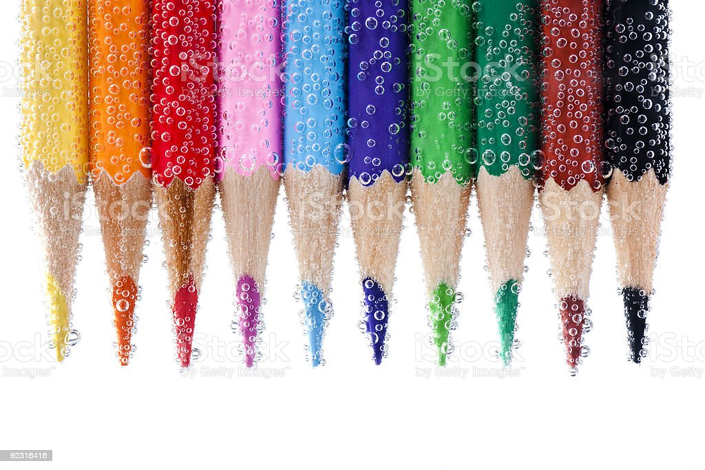 Pencils with bubbles royalty-free stock photo