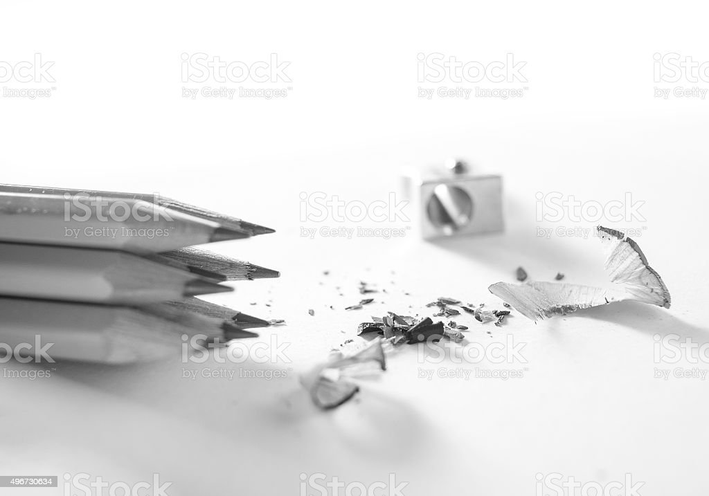 Pencils with sharpening shavings close up stock photo