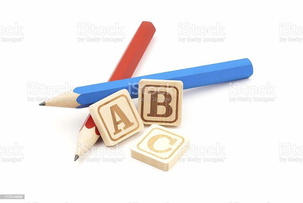 Pencils with Wooden Alphabet Blocks royalty-free stock photo