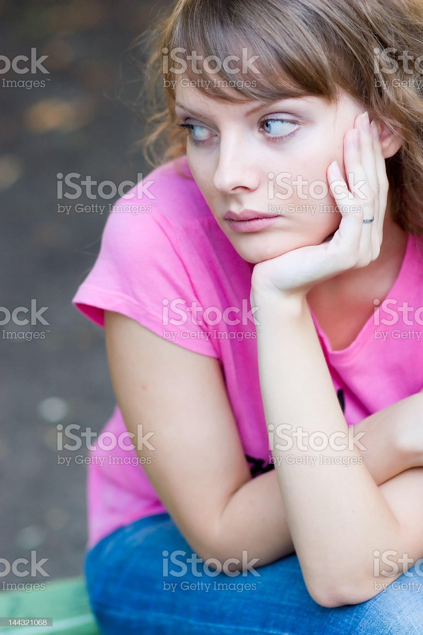 Pencive girl royalty-free stock photo