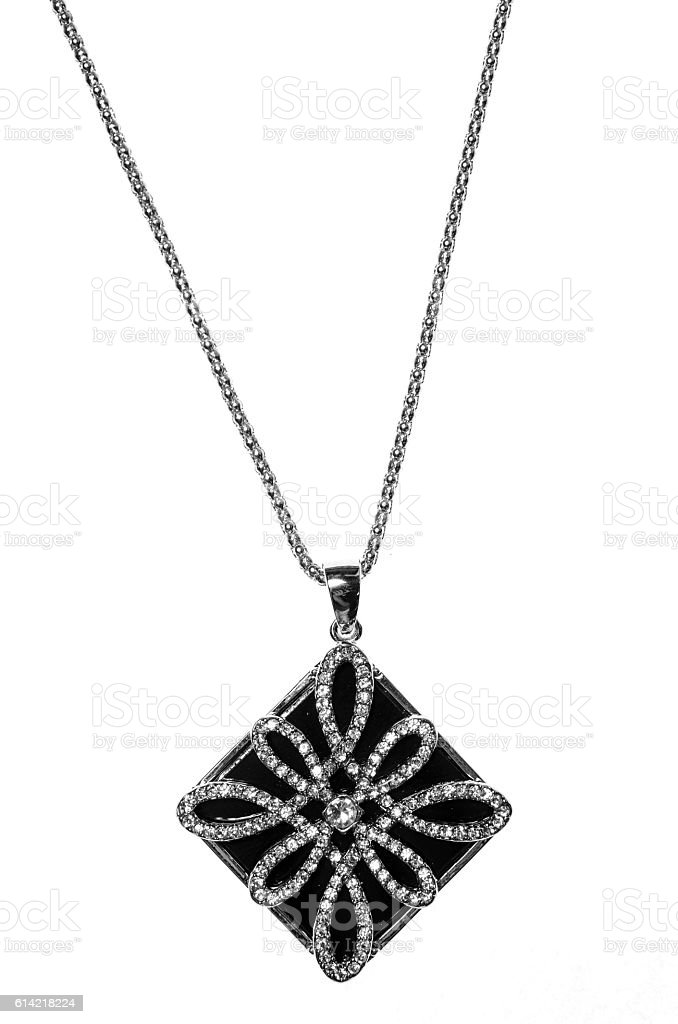 pendant  black rombus with diamonds on a white background stock photo