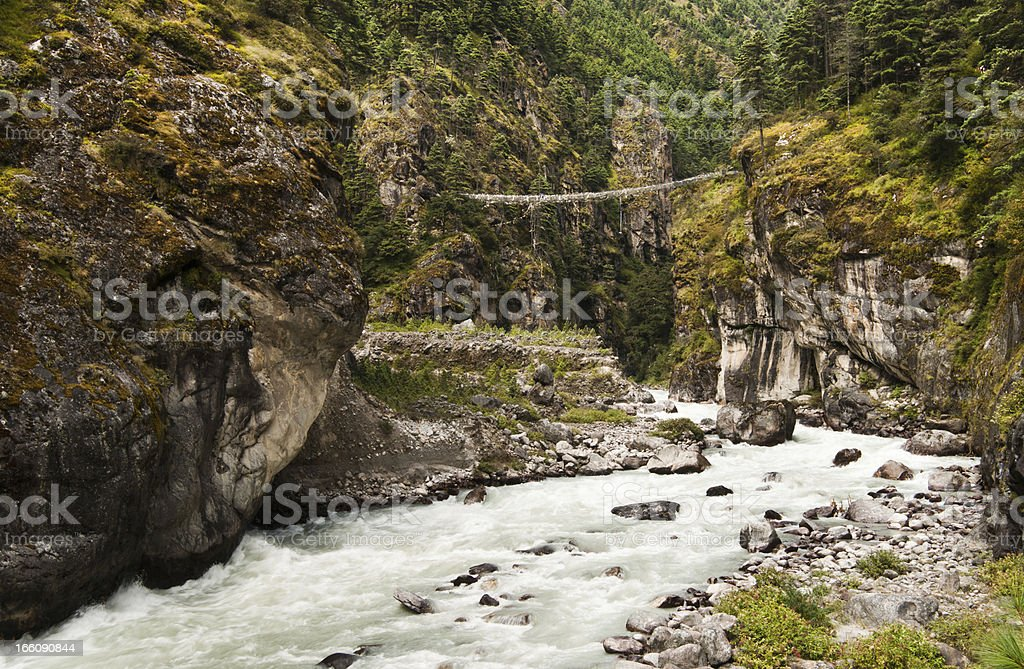 Pendant bridge on the way from Lukla to Namche Bazar royalty-free stock photo