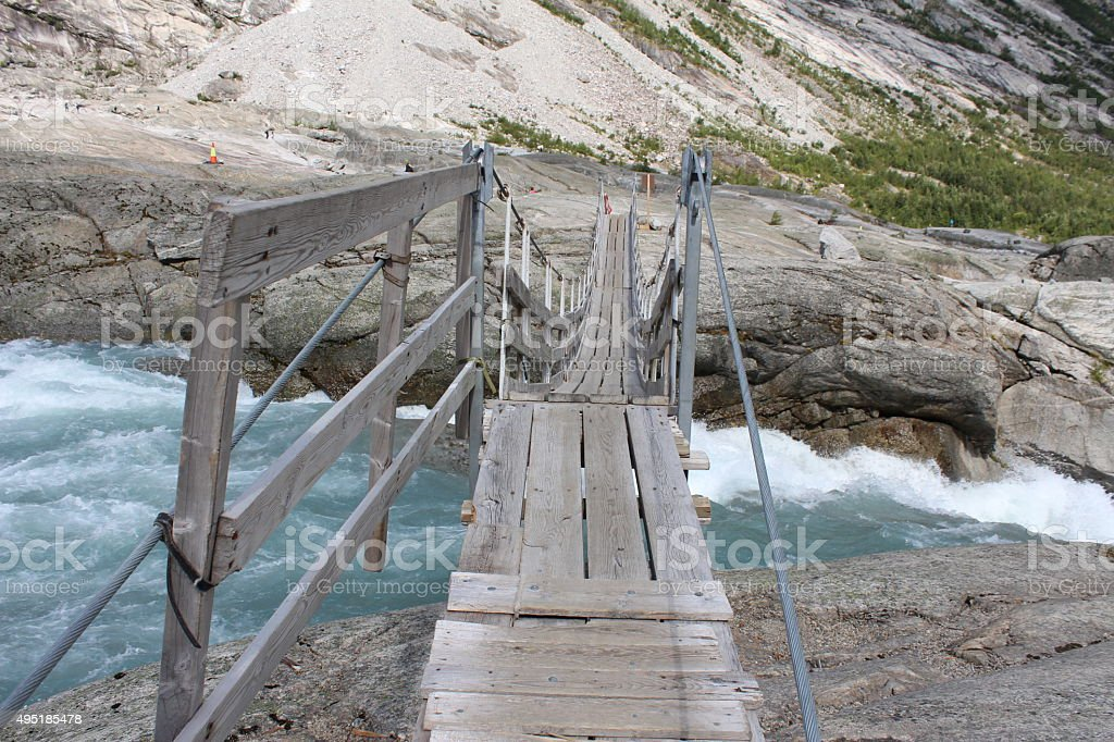 Pendant bridge over the Jostedola river. stock photo