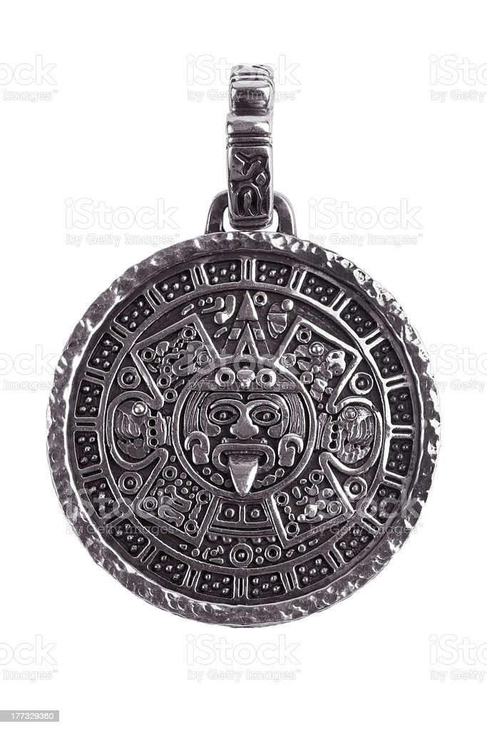 Pendant engraved with the Mayan calendar stock photo