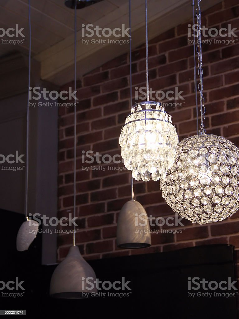Pendant lamps in the lights shop stock photo