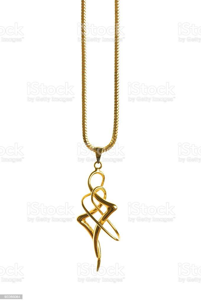 Pendant on golden chain royalty-free stock photo
