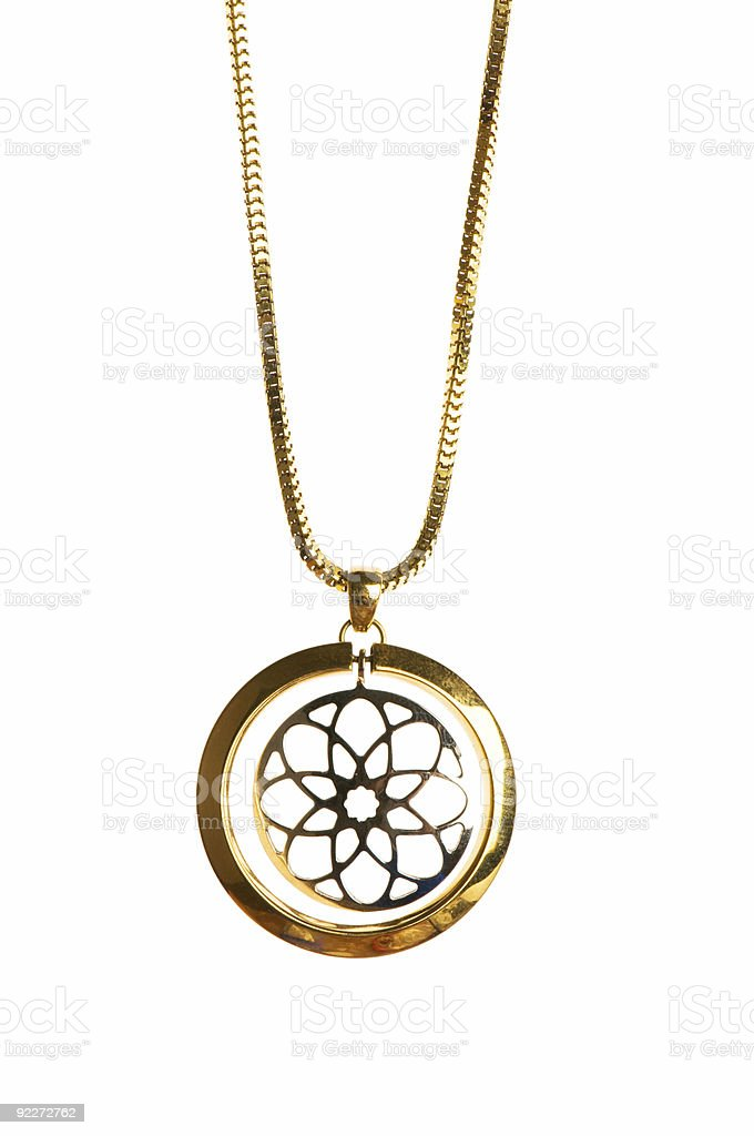 Pendant on golden chain royalty-free stock photo