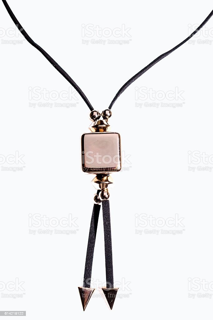 Pendant with the gold square on a white background stock photo