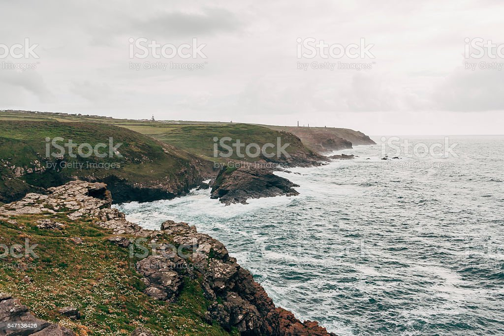 Pendeen cliffs and coastline on the north coast of Cornwall stock photo