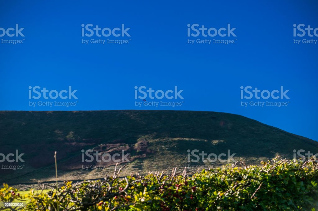 Pendle Hill And Paragliders stock photo