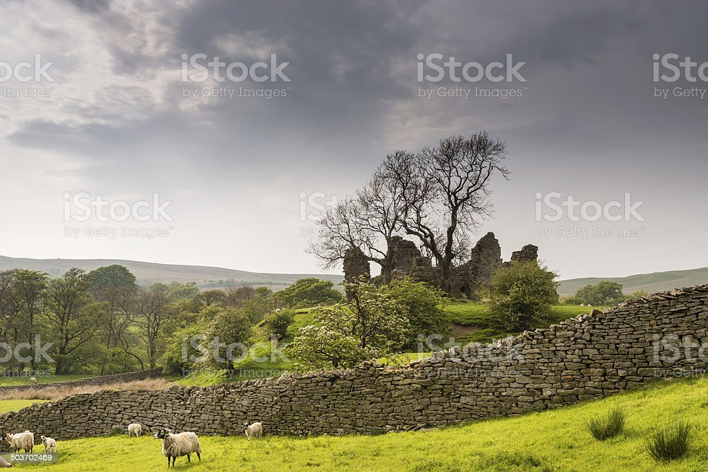 Pendragon Castle behind dry stone wall stock photo