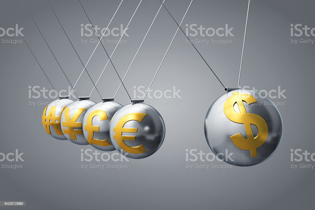 Pendulum With Currency Symbols stock photo