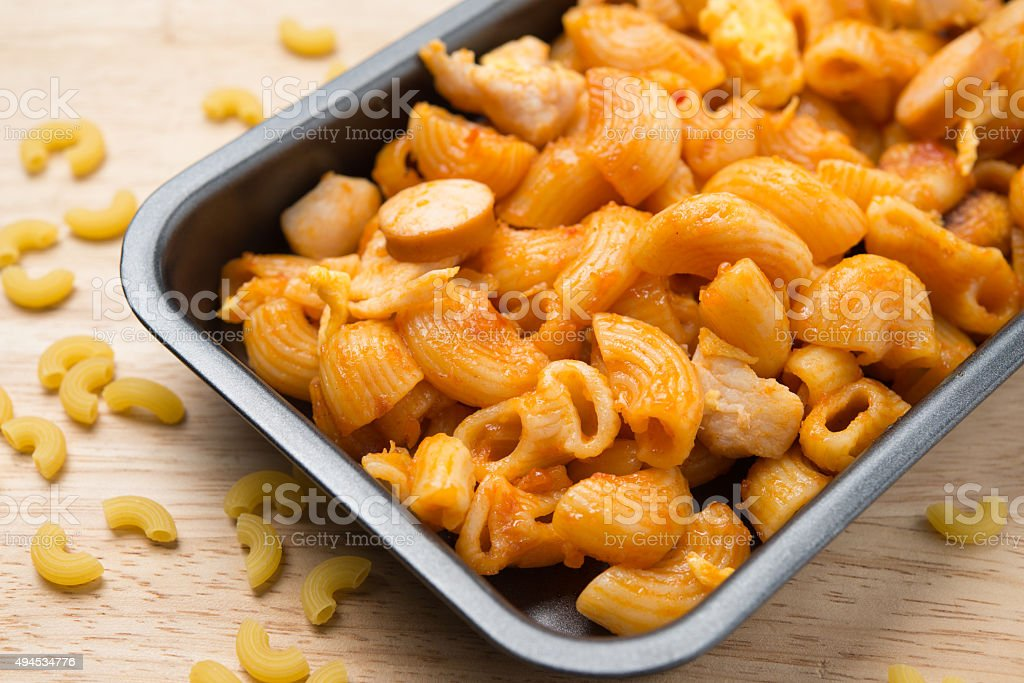 pene pasta in tomato souce stock photo