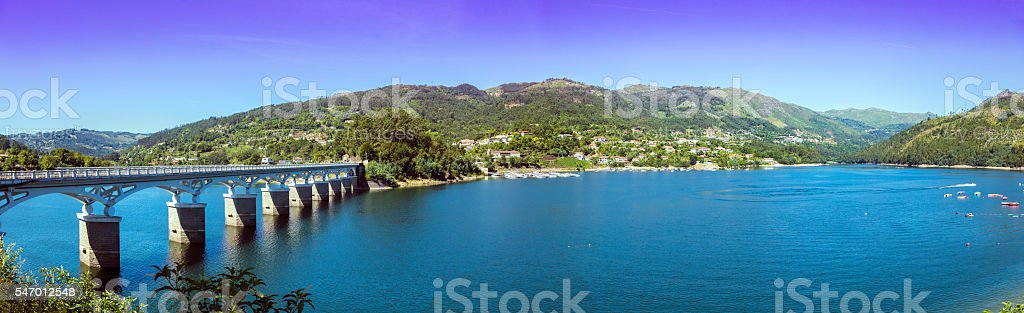 Peneda-Geres National Park and river Cávado panorama Portugal stock photo