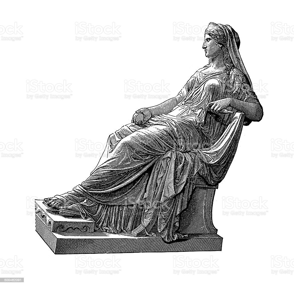 Penelope, the wife of Odysseus (antique engraving) stock photo