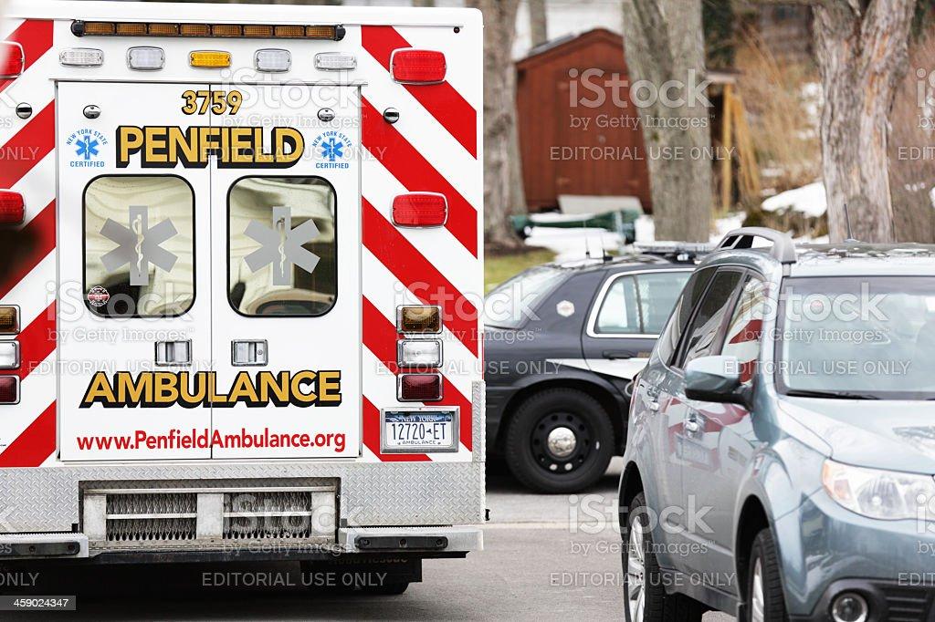 Penfield Ambulance and County Sheriff Patrol Car stock photo