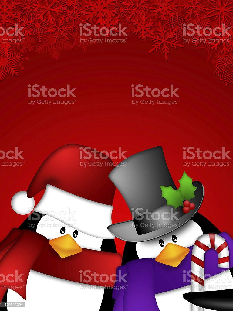 Penguin Couple on Red Snowflakes Background royalty-free stock photo