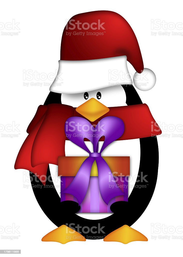 Penguin wearing Santa Hat with Present Clipart royalty-free stock vector art