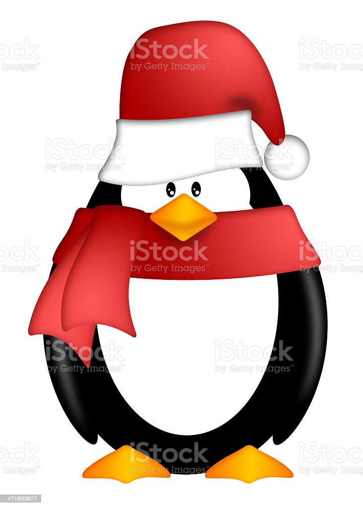 Penguin with Santa Hat and Red Scarf Clipart royalty-free stock vector art
