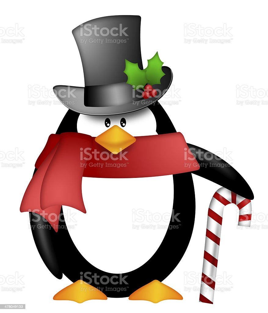 Penguin with Top Hat Red Scarf and Candy Cane Clipart royalty-free stock photo