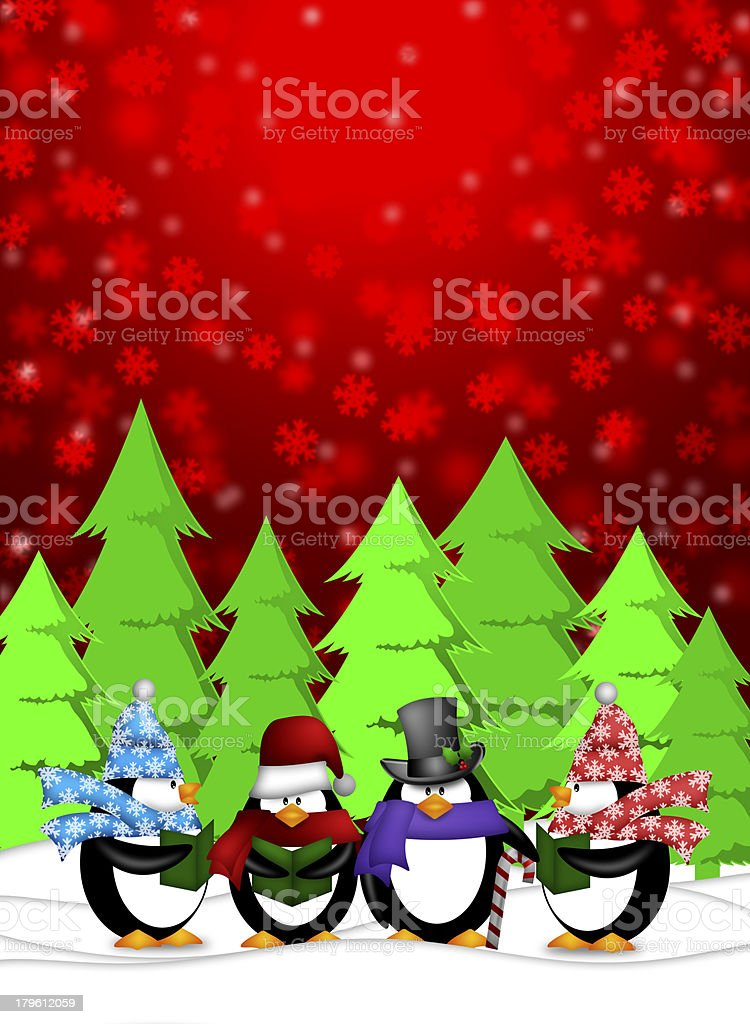 Penguins Carolers Singing with Red Winter Scene Illustration royalty-free stock photo