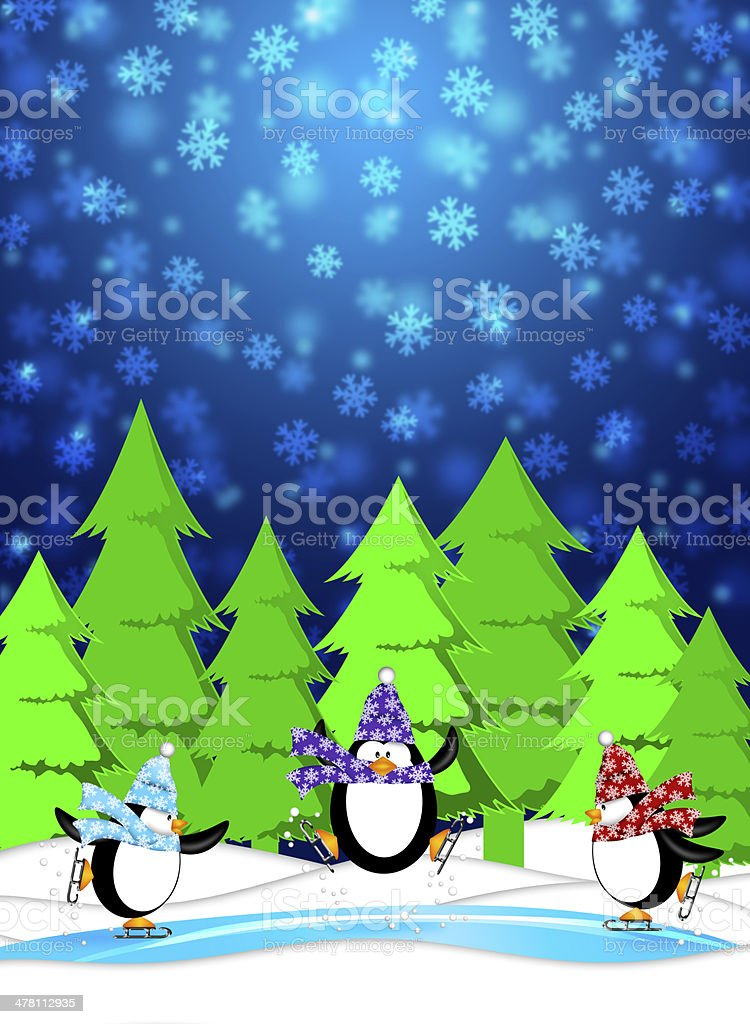 Penguins in Ice Skating Rink Winter Snowing Scene Blue Illustrat royalty-free stock photo