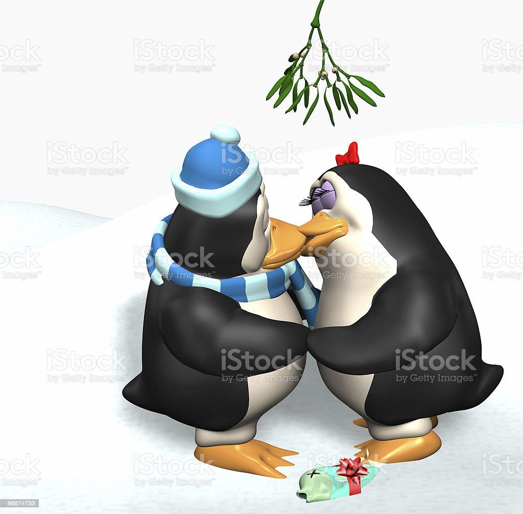 Penguins Kissing under the Mistletoe stock photo