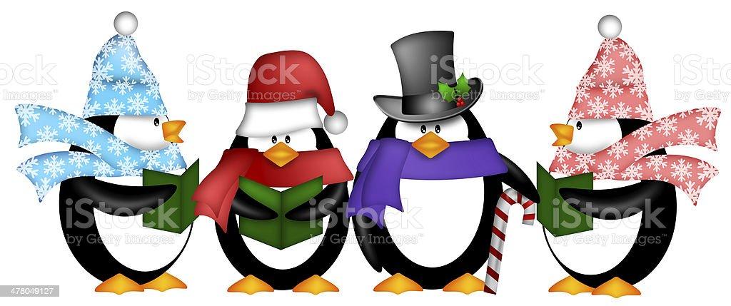 Penguins Singing Christmas Carol Cartoon Clipart royalty-free stock photo