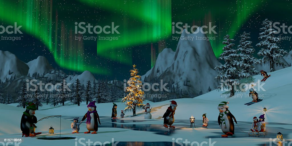 Penguins under the northern lights at Christmas time, 3d render stock photo
