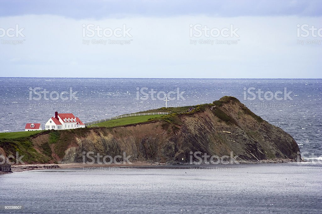 Peninsula with red house stock photo