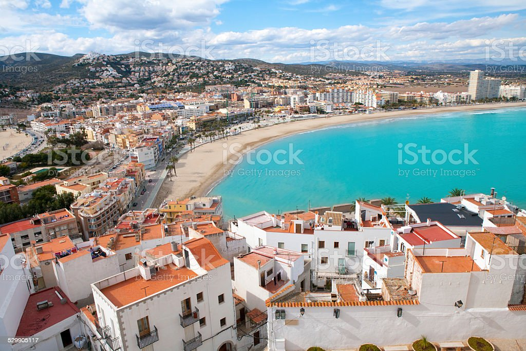 Peniscola beach and Village aerial view in Castellon Spain stock photo