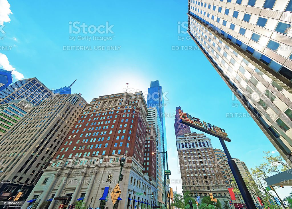 Penn Center and skyline with skyscrapers in Philadelphia of PA stock photo