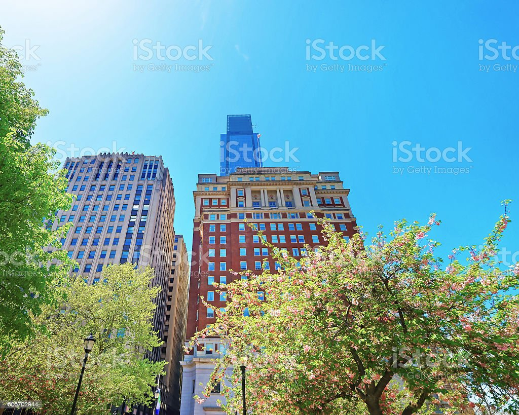 Penn Center and skyline with skyscrapers in Philadelphia PA stock photo