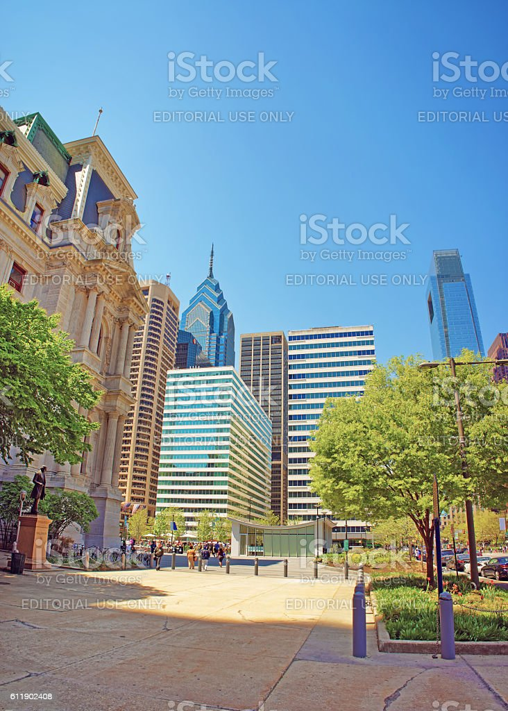 Penn Square and Penn Center and skyline of skyscrapers stock photo
