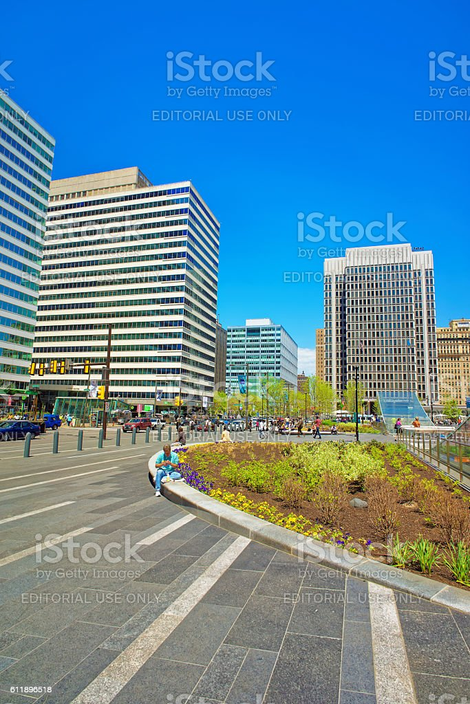 Penn Square and Penn Center with skyscrapers in Philadelphia stock photo