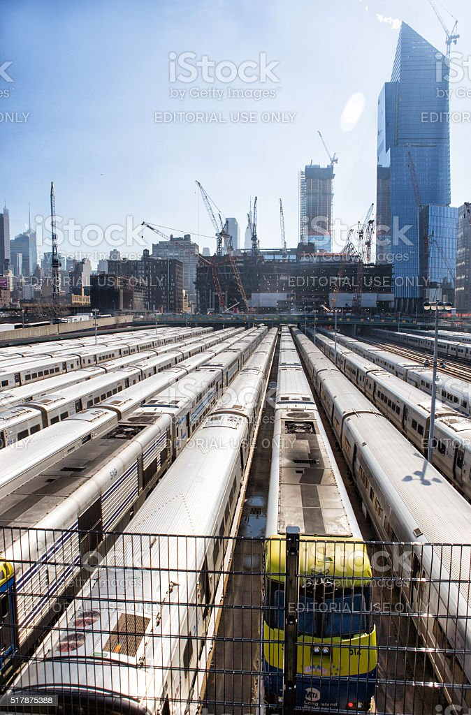 Penn Station train yard stock photo