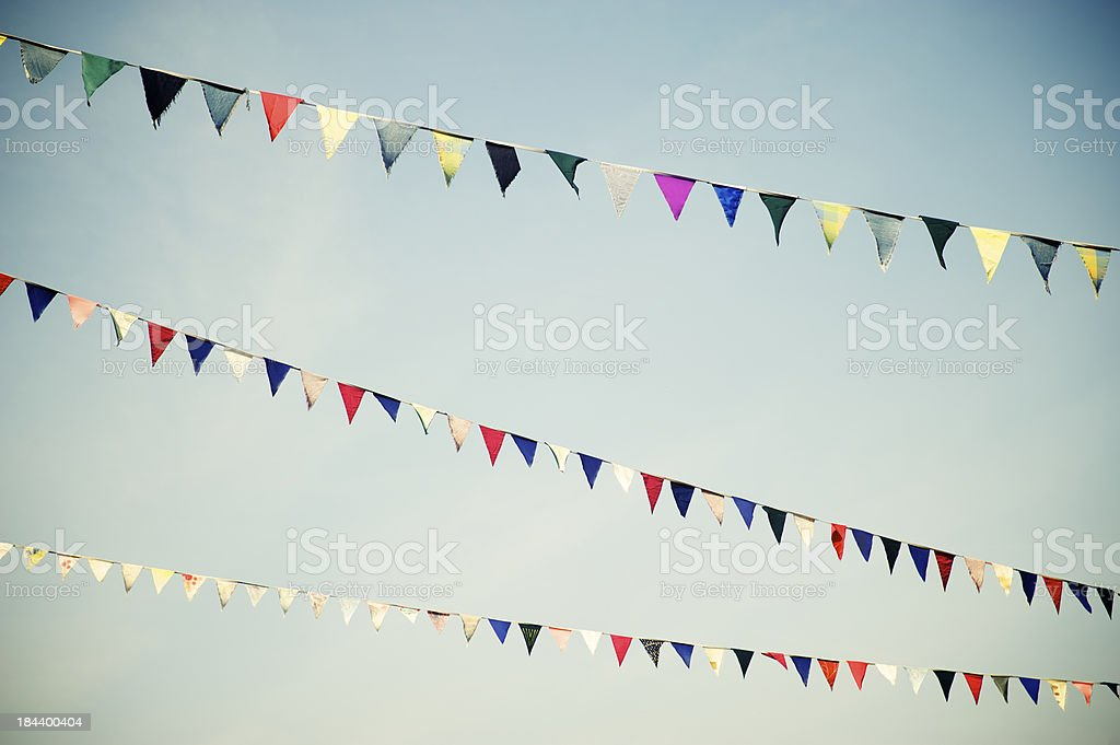 Pennant Flag Bunting in Multiple Colors Horizontal stock photo