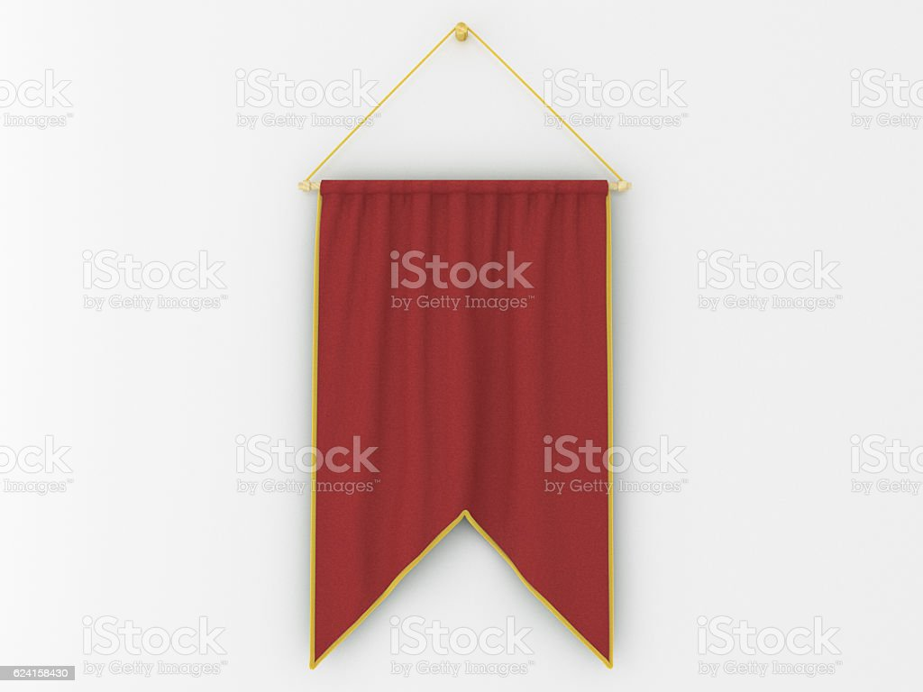 Pennant hanging on a wall. Include clipping path. stock photo