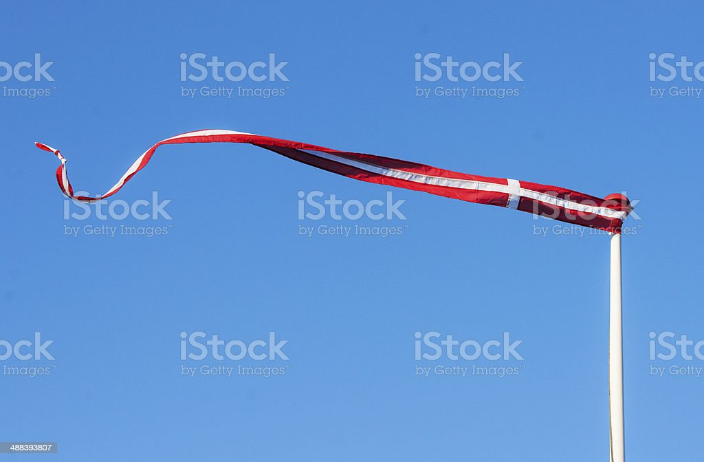 Pennant with the flag of Denmark blowing in the wind stock photo