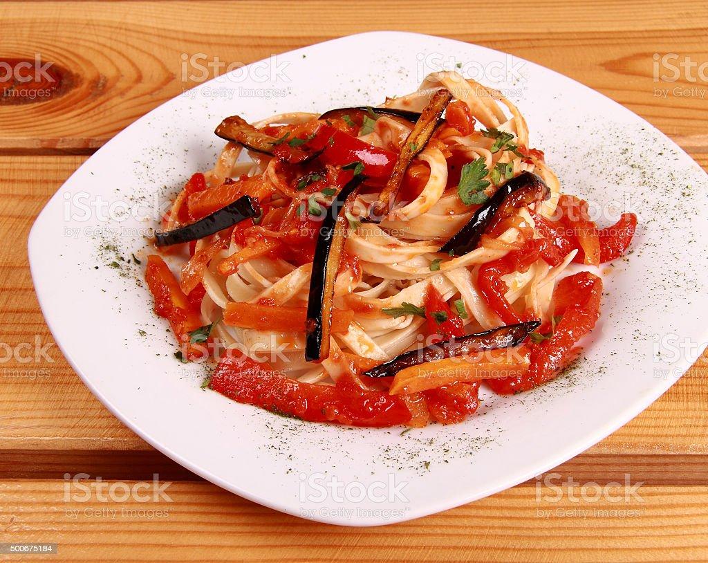 penne all'arrabbiata , italian pasta dish stock photo