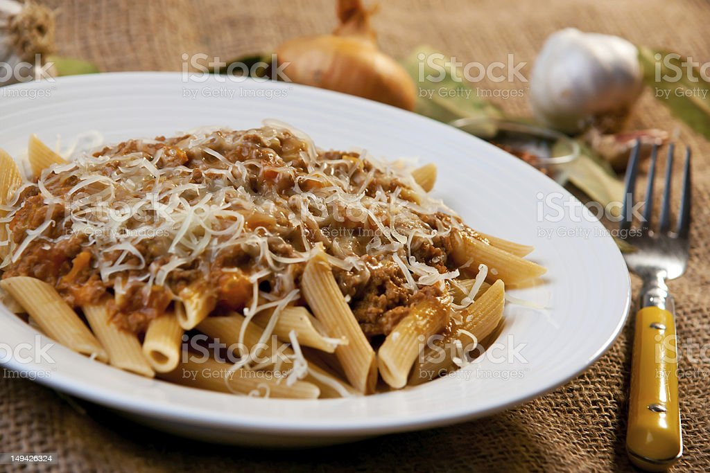Penne Bolognese royalty-free stock photo