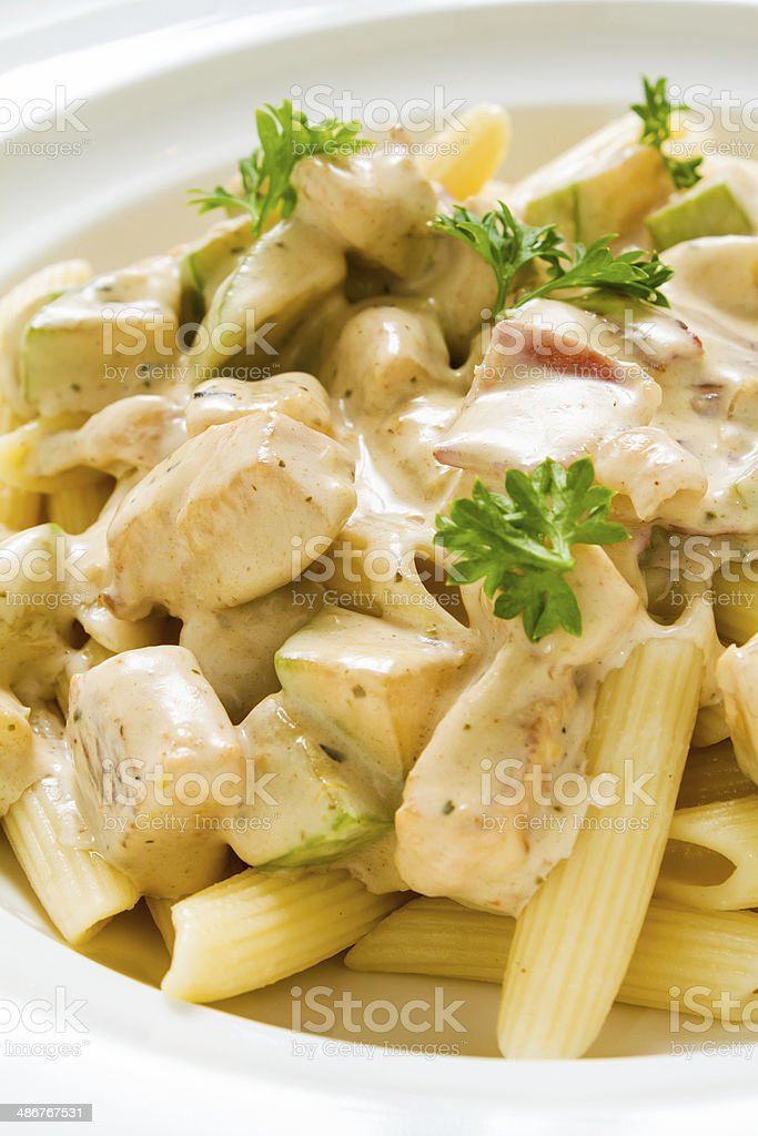 Penne Chicken Alfredo stock photo