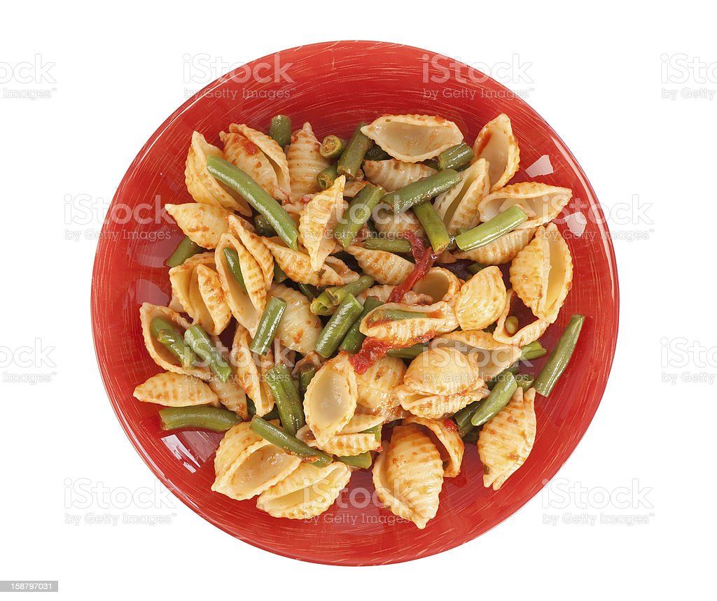 Penne dish with green beans on a plate royalty-free stock photo